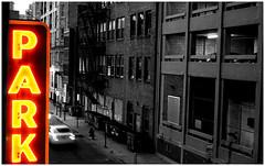 Latimer Parking (paul drzal) Tags: park street light urban neon centercity garage parking urbanexploration philly philadelphiabuildings philadelphiaarchitecture eskepe philadelphiacity philadelphiasights parkinglotshots viewsfromaparkinggarage parkinggaragephotos viewsatopaparkinggarage