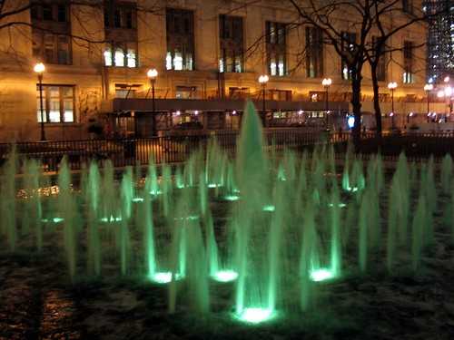 Green Fountain at night