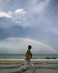 Rainbow in Copacabana (leomartins) Tags: beach riodejaneiro rainbow cloudy stormy copacabana