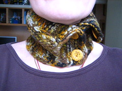 my first hand spun- neck hug- front
