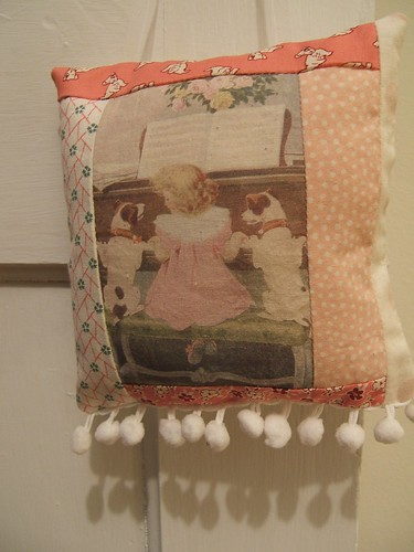 vintage-y hanging pillow