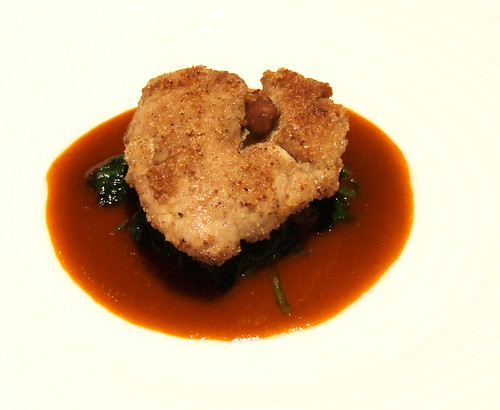 Ideas in Food - Chufa Nut Crusted Lamb Sweetbreads - papaya–caper sauce, pickled chufa nuts, kaffir lime spinach