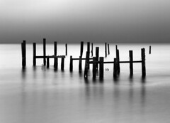 Sausalito Pilings (Rob Kroenert) Tags: california ca bw usa white black water bay long exposure poles pilings sausalito sfchronicle 96hrs sfchronicle96hrs abigfave