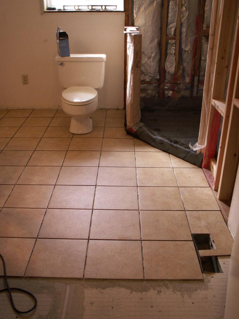 New bathroom floor tile