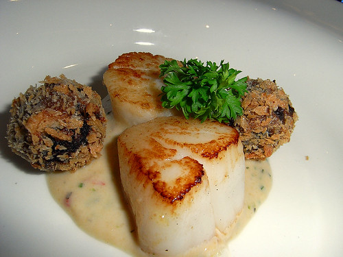 Seared Pacific Ocean Scallop with Golden Crumbed Red Dates and Sesame Lime Dressing