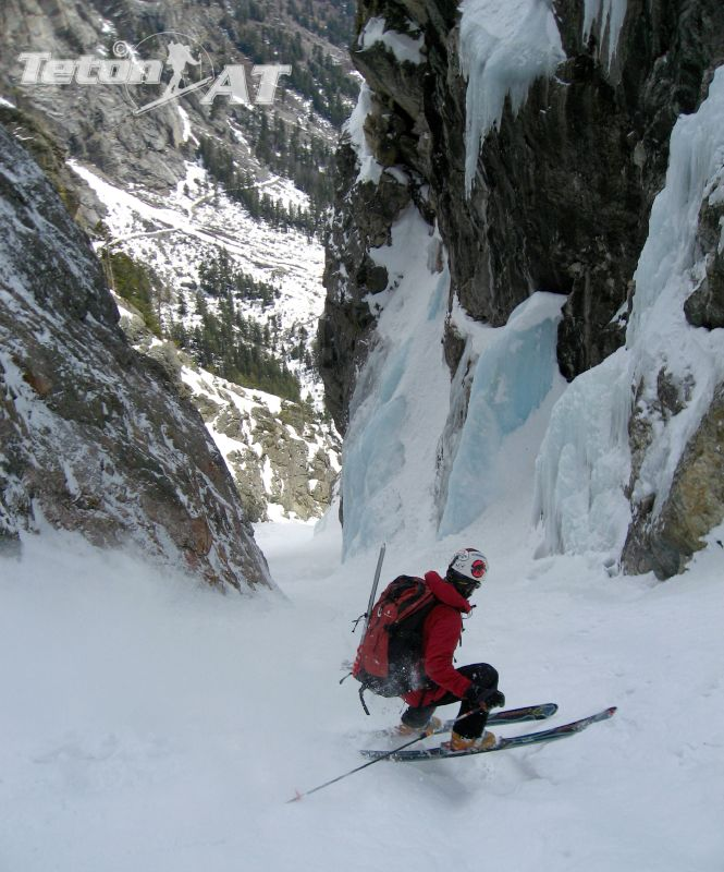 Challenging skiing below the narrows