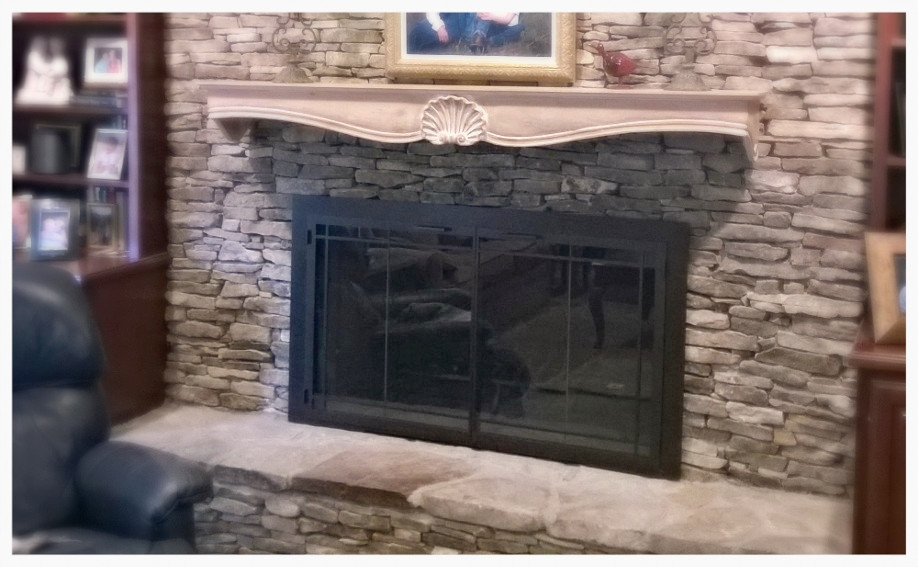 Design Specialties Carolina Fireplace Doors with window pane trim. Chattanooga, Tn.