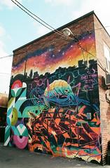 Sweetman Shrimp (Georgie_grrl) Tags: graffitijauntwithjan graffiti streetart expression creative colourful pentaxk1000 rikenon12828mm alleyway toronto ontario nicksweetman shrimp crustacean skyline star silhouettes