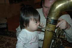 Ree makes the tuba sounds like a pro (during her second lesson)