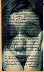 Clare #2 (fotologic) Tags: portrait face print clare text surreal dreams surrealist alteredbooks
