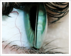 ContactIII (myrte voogt) Tags: blue iris macro green eye closeup lens eyes aqua eyelashes turquoise eyeball vein contact veins eyelid contactlenses
