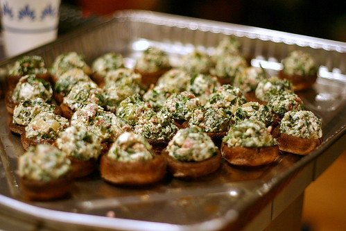 stuffed mushrooms, nearly baked