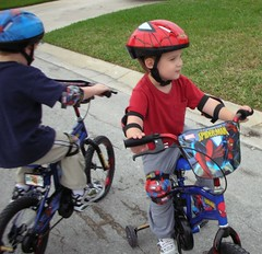 Jake and Bradley on their new bikes
