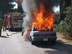 Car Fire - Vehicle engulfed in flames uploaded by 7mary3 on January 1, 2007