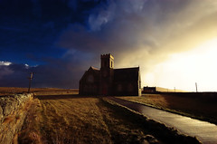 Heylipol Church, Tiree (atomicjeep) Tags: road blue sunset sky sun holiday church clouds digital ilovenature scotland wideangle creativecommons tiree hogmanay heylipol impressedbeauty hogmanay06