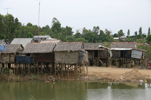Primitive houses on stilts. Near Langa Lake.