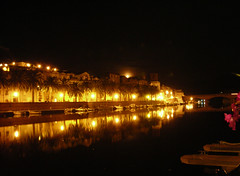The Moon is rising on the river (valerius25) Tags: sardegna bridge moon night reflections river boats lights sardinia fiume barche luna ponte luci riflessi palme notte bosa temo valeriocaddeu