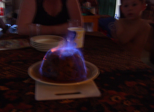flaming pudding