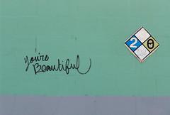 youre-beautiful (sillydog) Tags: blue beautiful oregon handwriting portland graffiti clinton 2006 yourebeautiful hosfordabernathy chemicalsafety
