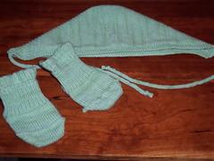 baby socks and bonnet