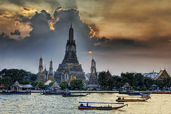 Wat Arun at Sunset (Stuck in Customs) Tags: sunset sky sculpture architecture river thailand temple photography boat nikon worship photographer bangkok buddha buddhist religion d2x thai wat watarun hdr arun highquality famousbuilding d2xs stuckincustoms treyratcliff