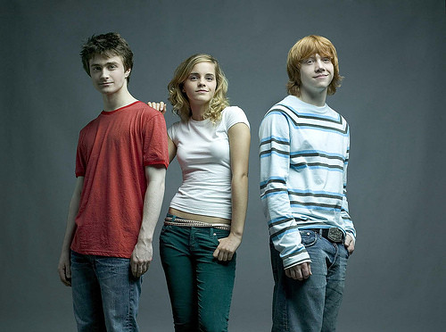 Hermione con Ron y Harry
