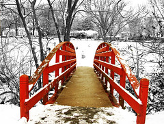 The Red Bridge (***TR.iPod) Tags: winter snow photoshop tripod www arkansas imagemanipulation soe fayetteville artistry wilsonpark redbridge interestingness10 interestingness13 interestingness20 outstandingshots nikonstunninggallery abigfave anawesomeshot colorphotoaward impressedbeauty tripodphotos scullcreek