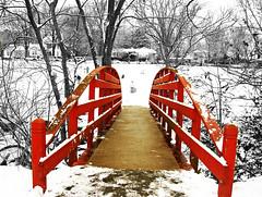 The Red Bridge (***TR.iPod) Tags: winter snow photoshop tripod www arkansas imagemanipulation soe fayetteville artistry wilsonpark redbridge interestingness10 interestingness13 interestingness20 outstandingshots nikonstunninggallery abigfave anawesomeshot colorphotoaward impressedbeauty tripodphotos scullcreek