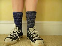 Monkey socks in my ole' faithfuls (stupid clever) Tags: knitting knit knitty blackmagic monkeysock sundarasockyarn lacesock knitsock