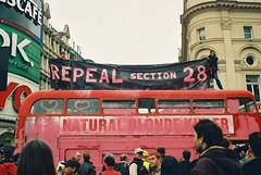 repeal section 28 pink bus from protest in picadilly circus