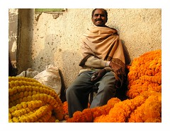 flower seller | Kolkata (arnabchat) Tags: portrait orange india flower yellow market smiles explore marigold favs kolkata bengal calcutta arnabchat arnabchatterjee