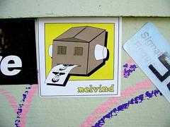 Melvind (See El Photo) Tags: street 15fav streetart art closeup sticker stickerart box melrose boxhead 1f faved seeelphoto melvind chrislaskaris