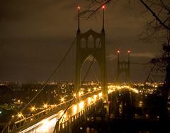 Portland's Barad-dr (Ar'alani) Tags: longexposure bridge cars night oregon river portland lights towers pacificnorthwest interestingness9 stjohnsbridge