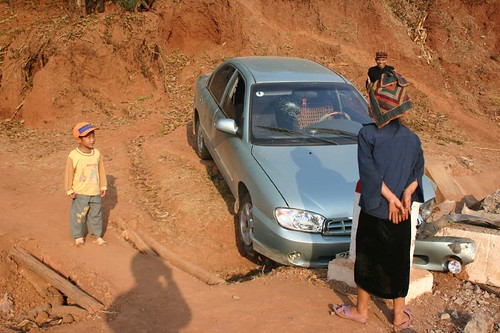 Car crash in a remote mountain village...