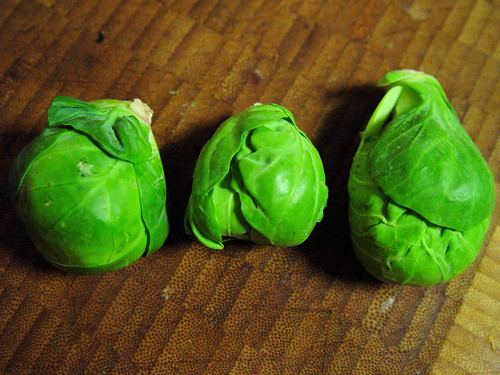 Three Brussels Sprouts, of varying quality