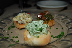 Bruschetta - Creamy Dill; Basil and Tomato; and Artichoke, Onion, Garlic