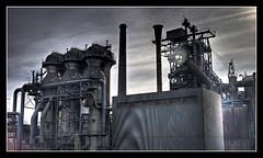 Alien Blast Furnace (Jörg Wanderer Photography) Tags: industry germany geotagged deutschland steel nrw landschaftspark duisburg industrie ruhrgebiet hdr cowper stahl blastfurnace ruhrpott hochofen 3xp routederindustriekultur duisburgnord winderhitzer canon400d airpreheater geo:lat=51481319 geo:lon=6780378