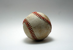 There Are 108 Stitches in a Baseball (B Tal) Tags: game sport ball stitch baseball quote object nikond50 whitebackground stitches lightbox neutral seams