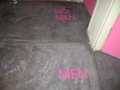 Men / No Men (Sigh Lens) Tags: pink color colour sign israel humor  toilets 2007