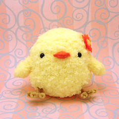 Amigurumi Fluffy yellow chickie bird with flower