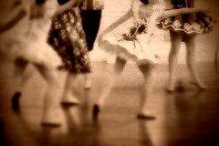 yearning (paul veraguth) Tags: bw ballet reflection texture sepia aged sleepingbeauty dressrehearsal ballerinas