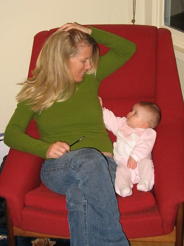 Mama & Mak in Big Red Chair