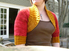 Two tone front view (stupid clever) Tags: shrug malabrigo glampyre stefaniejapel fittedknits twotoneshrug