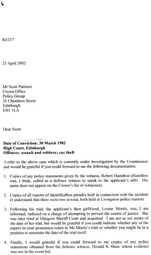 Letter sent to Crown by SCCRC