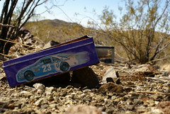 Come in 23, your time's up. (Jai-to-Z) Tags: blue arizona sky usa abandoned car tin rocks desert 23 discarded left scrub joesracing