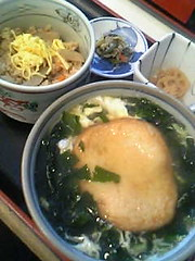 MARUTEN SOBA (hot noodle with deeply fried fish paste round type) and TORI-MESHI (chicken rice)