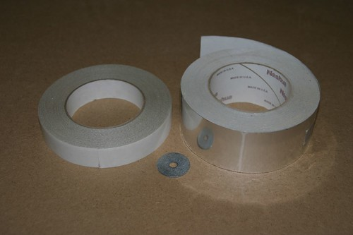 Industrial strength double back tape, fender washer (for weight) and alunimum tape