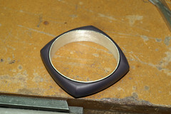 1st bracelet purple 2 (jon m ryan) Tags: art silver aluminum workinprogress craft jewelry bracelet sterling process jonryan anodize