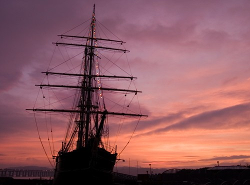 Dundee ship Discovery in Pink Glow
