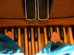 """Keyboard for Feet :) (Claire DeLand ~ """"GA Music Maker"""") Tags: 2003 christmas keyboard worship advent organ christmas2003 sanctuary pedalboard favorited clarkstonga christmasatclarkstonumc christmasinthesanctuary keyboardforfeet kisforkeyboardforfeet"""
